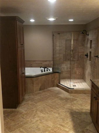 Bathroom remodel with new shower tub and tile finished